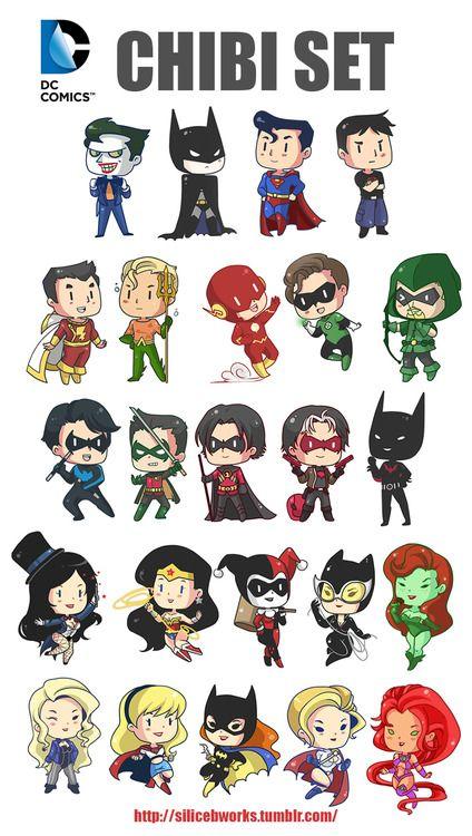Joker, Batman, superman, superboy, captain marvel, aqua man, flash, green lantern, green arrow, night wing,Robin(Damian), red Robin, Zatanna, super woman, Harely Quinn, cat woman, poison ivy, black canary, super girl,batgirl, and Starfire. I didn't know about 3..... Sorry...