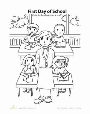 Printables Kindergarten First Day Of School Worksheets first day of school coloring back to kindergarten people worksheets coloring