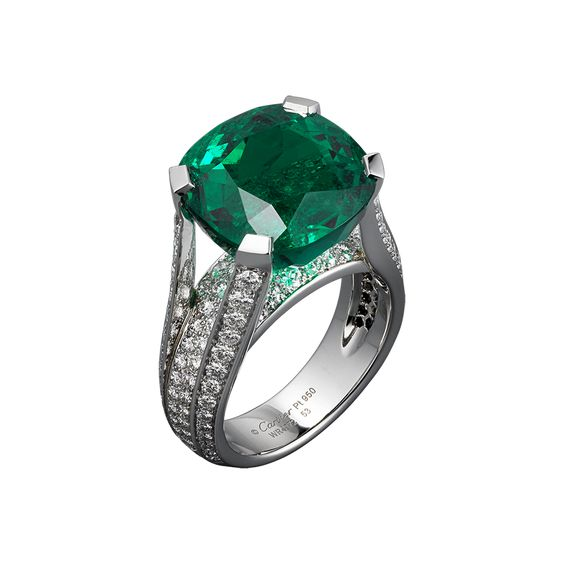 L'Odyssée de Cartier Parcours d'un Style 'Precious Lines and Architecture' high jewelry ring in Platinum, one 12.16 carat cushion-shaped emerald from Colombia, brilliants.