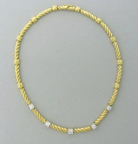 Vintage Cartier 18k Gold Diamond Necklace http://hamptonestateauction.com/