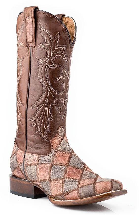 Roper Ladies Faux Exotic On Leather Sq Toe Boots Sq.toe Faux Exotic Teju Patchwork