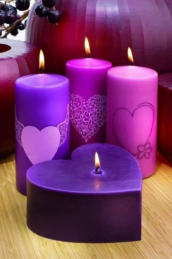 مســــــــــــــــاؤكم كل شيء جميل ق لــــــوب متســـــامحـــة ذنــــــوب مغفــــــورة همـــــوم زائـــلـــة ودعــــوا Purple Candles Candles Beautiful Candles