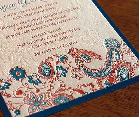 Hindu Wedding Invite. I pinned this because I love paisleys and they are obviously very Indian.