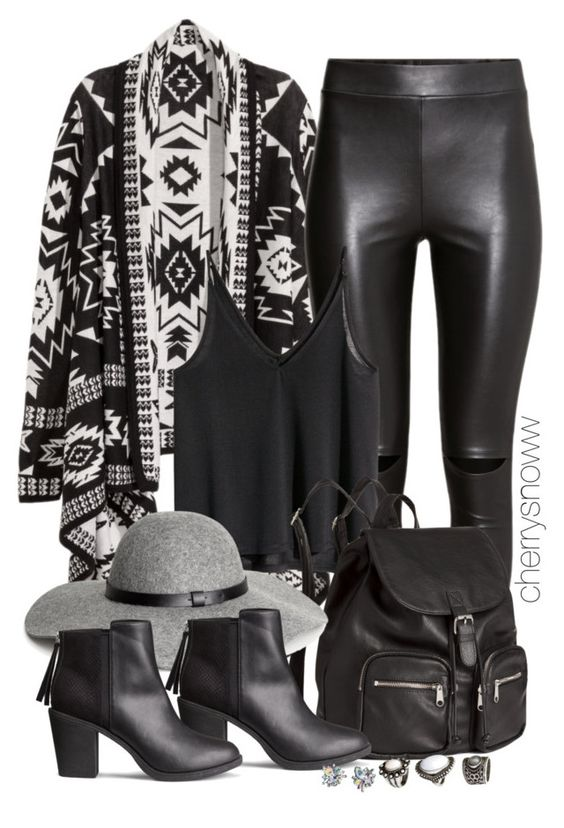 """Black edgy boho chic fall outfit"" by cherrysnoww ❤ liked on Polyvore featuring H&M"