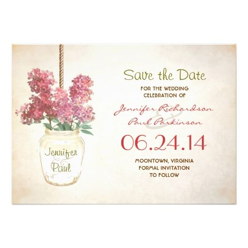 mason jar and lilacs save the date invites