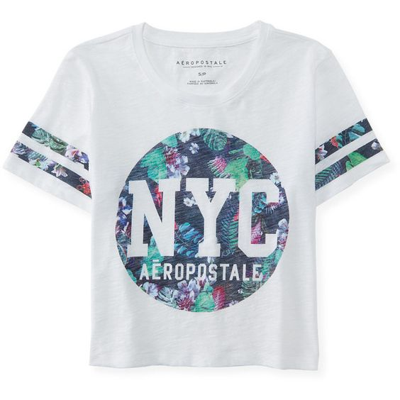 Aeropostale Floral NYC Stripe Crop Tee found on Polyvore featuring tops, t-shirts, shirts, bleach, striped t shirt, crop t shirt, floral tee, cotton tee and stripe t shirt