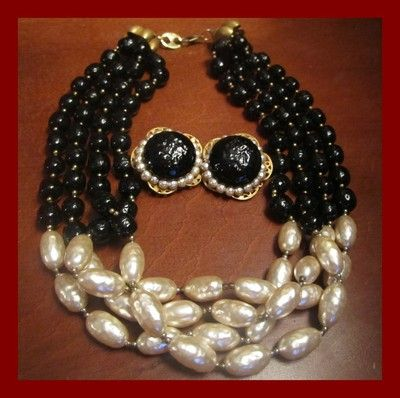 Vintage MIRIAM HASKELL Necklace Earring BAROQUE PEARL Black White Jewelry Signed