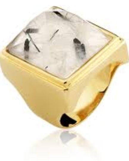 Anel folheado à ouro 18k com pedra natural