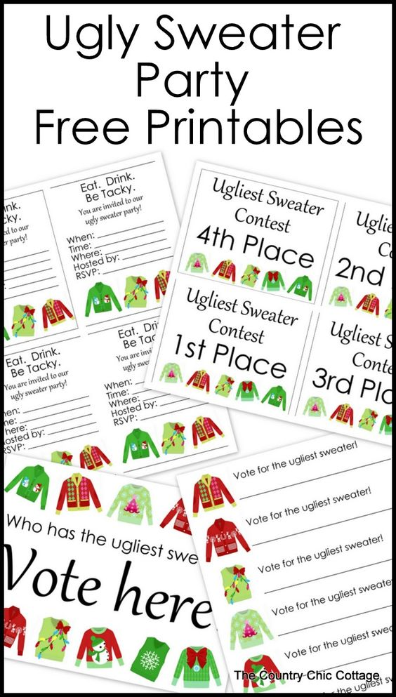 Ugly Sweater Party Free Printables | Free printable party ...