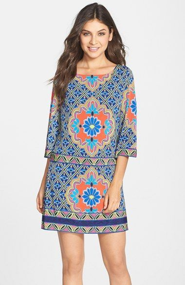Laundry+by+Shelli+Segal+Print+Jersey+Shift+Dress+(Regular+&+Petite)+available+at+#Nordstrom