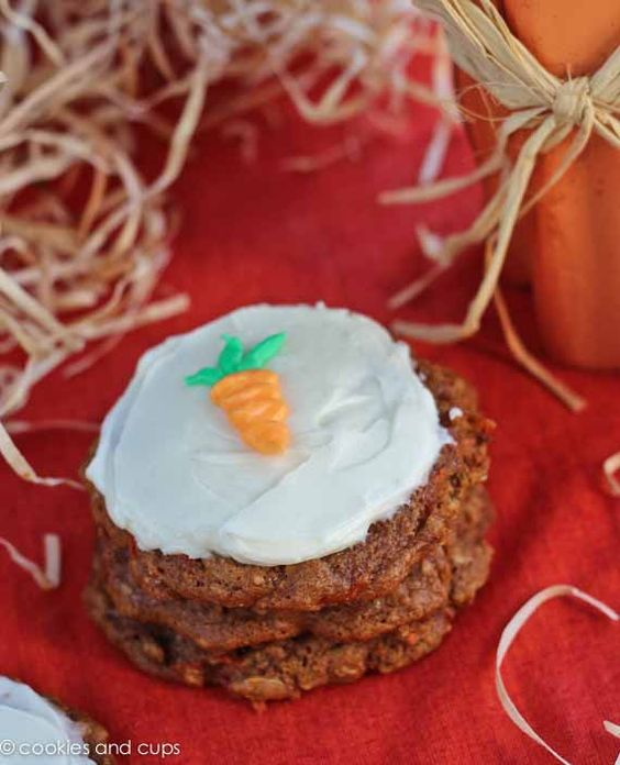 Carrot Cake Cookies from carrot cake mix and frosting from flavored cream cheese
