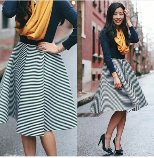 Blue Top x Striped Skirt