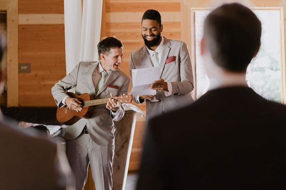 Groomsmen Serenade Serendipity Garden Wedding Dan And Tyler Photography In 2020 Serendipity Garden Weddings Groomsmen Grey Tan Bridesmaids