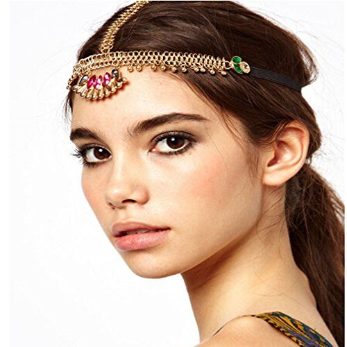 Yazilind Damen Legierung Goldene Leiter Kette Design Kristall Fans Form Stirn-Haar Kopfstück   Your #1 Source for Beauty Products