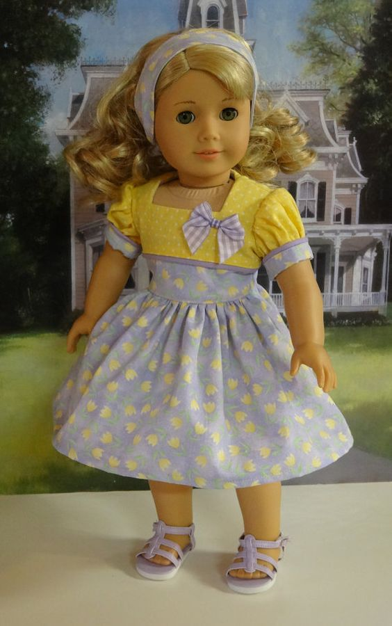 Spring Tulips  vintage style dress for American by cupcakecutiepie, $47.00