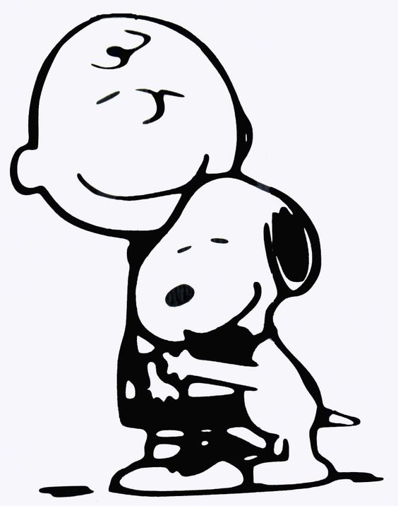 Charlie Brown and Snoopy Hug Diecut Decal