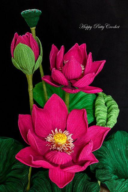 Crochet Flower In Pot Pattern : Lotus flowers, Lotus and Flower crochet on Pinterest