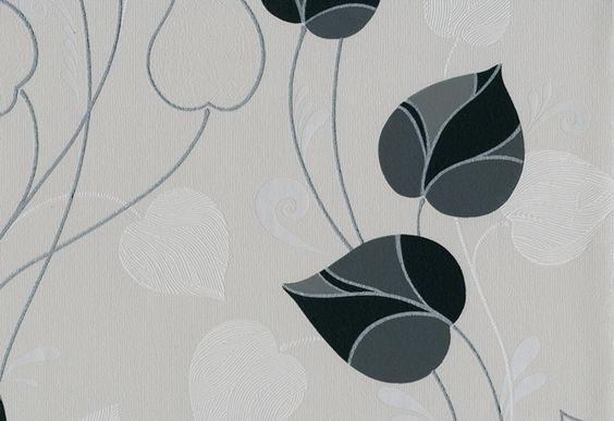 Modelo 4250-20. Color blanco con hojas en negro, gris y plata. #Papeltapiz  #Tiendaenlinea #Decoracion