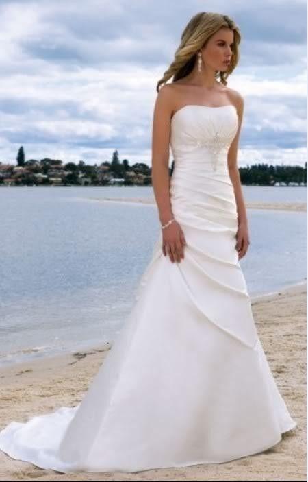 White/Ivory Strapless Beach Wedding Dress Gown Size:Custom