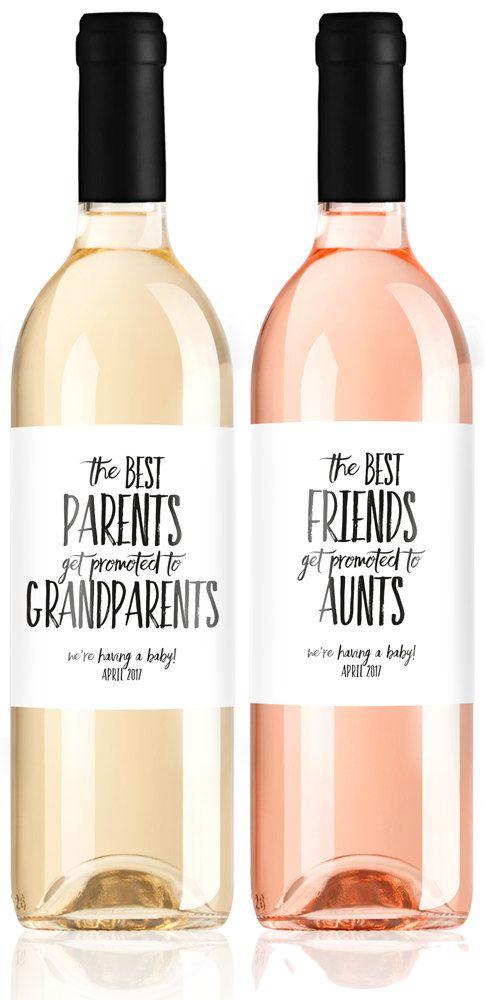 Pregnancy Announcement Wine Labels We're par LabelWithLove sur Etsy