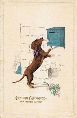 Postal del Dachshund Feliz Año Nuevo del vintage (1915) en ebay.de