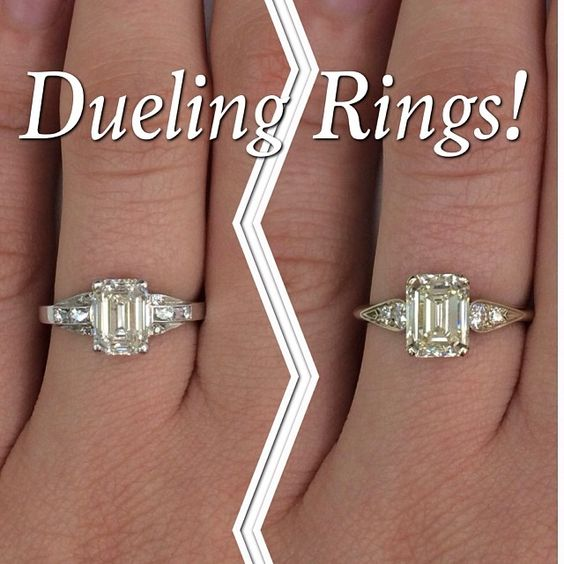 Dueling Rings! Which Emerald cut diamond engagement ring would you choose? #youchoose #engagement #ring #emerald #diamond #love #wedding #weddingring #sparkle #delicate #handcrafted #dtla #bling #want @singlestonemissionstreet