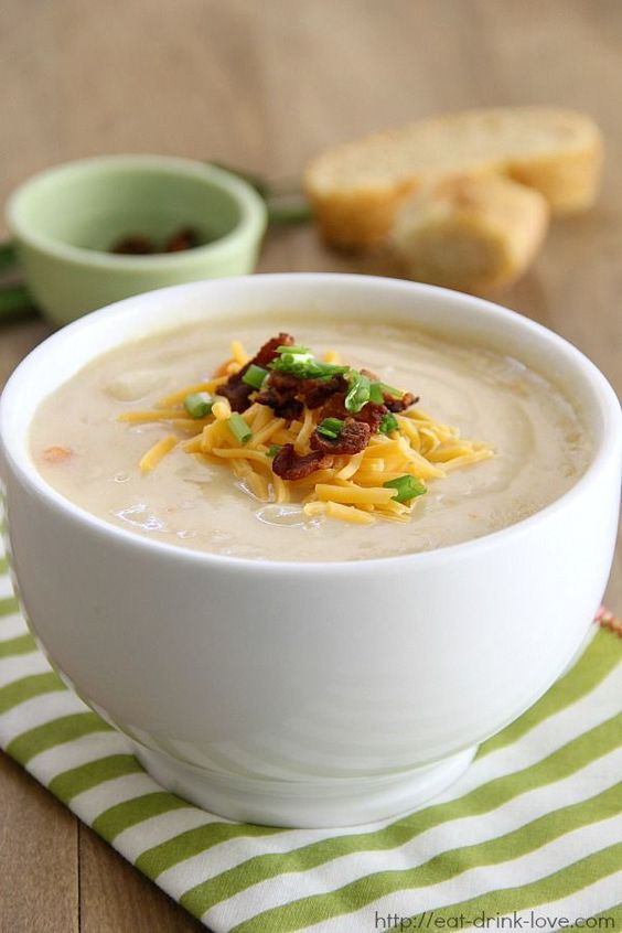 Easy Potato Soup - SO rich and dreamy and under 200 calories per bowl!