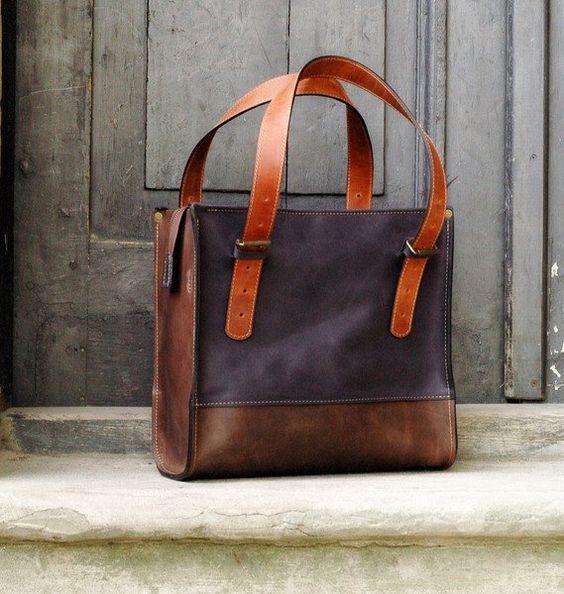 Ledertaschen - Tasche Schultertasche Leder mit Verschluss - ein Designerstück…