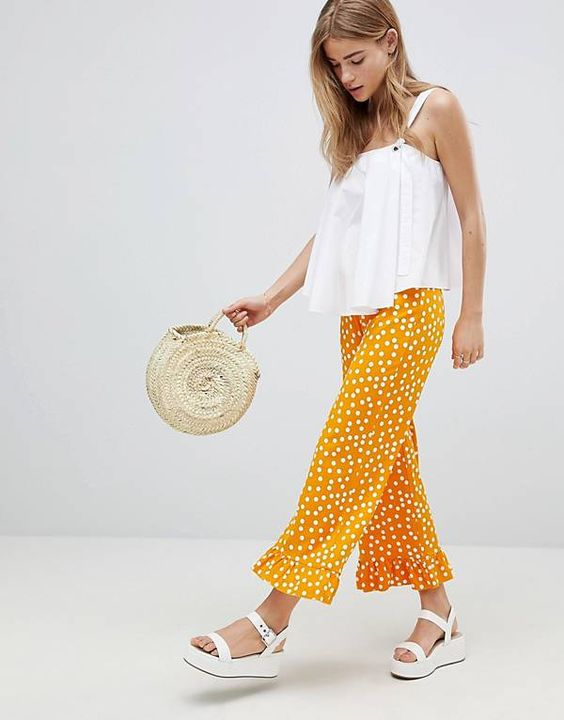 ASOS DESIGN Pants With Fluted Ruffle Hem In Polka Dot