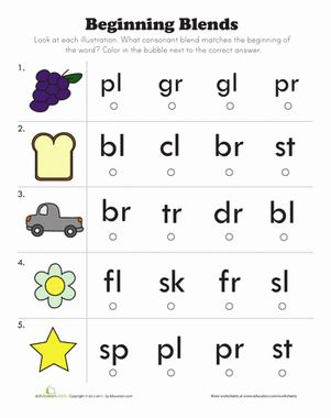 Printables Beginning Blends Worksheets beginning consonant blends an adjective the bubble and sight worksheet