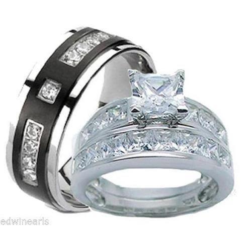 Edwin Earls Edwin Earls His Hers Wedding Ring Set 925 Sterling Silver Titantium We Titanium Wedding Ring Sets Affordable Wedding Ring Set Wedding Ring Sets
