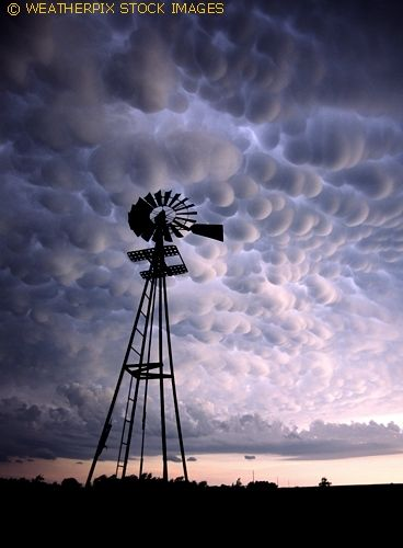 Mammatus clouds above Woodward Oklahoma in June 2012: