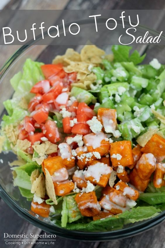 Buffalo Tofu Salad - Crispy tofu over a delicious green salad; then ...