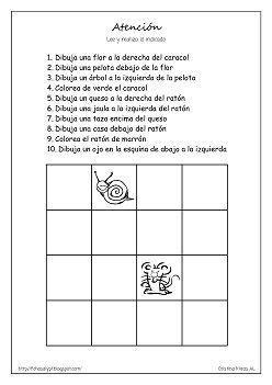 Cositas de AL y PT: Atención. Following directions activity, review concepts such as above, next to. In Spanish.