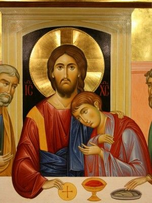 Icon of The Last Supper. Jesus and St. John.: