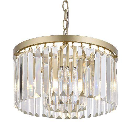 Cuaulans Modern Crystal Chandelier Gold Finish Semi Flush Mount Hanging Light Fixtur In 2021 Modern Crystal Chandelier Pendant Ceiling Lamp Flush Mount Ceiling Lights Crystal semi flush mount lighting