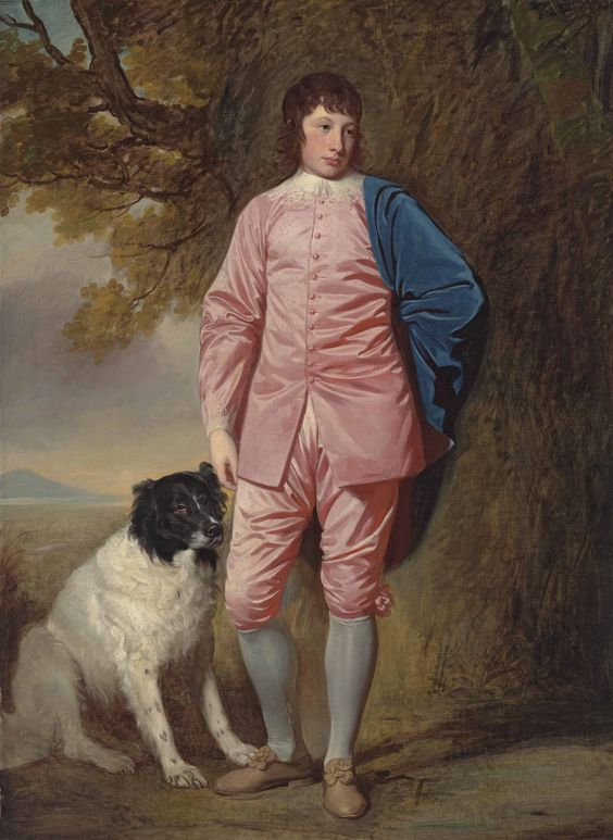 George Romney (Dalton-in-Furness, Lancashire 1734-1802 Kendal, Cumbria) | Portrait of Richard Newman Harding (1756-1808), full length, in a pink coat and breeches, with a dog in a wooded landscape | 18th Century, Paintings | Christie's