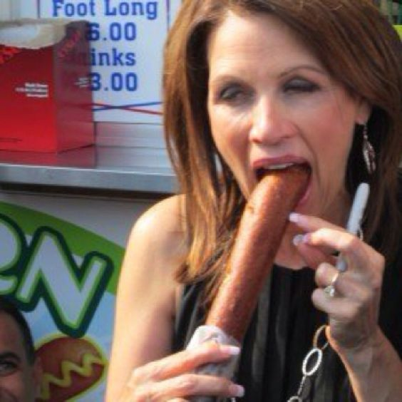 Michelle Bachman.  All I did was post this.  She's the one running for office.  She knew she didn't need to eat a gigantic (non-Marcus size) corn dog in public if she was running to be the most important, most powerful person on Earth - the Leader of The Free World, as people say.