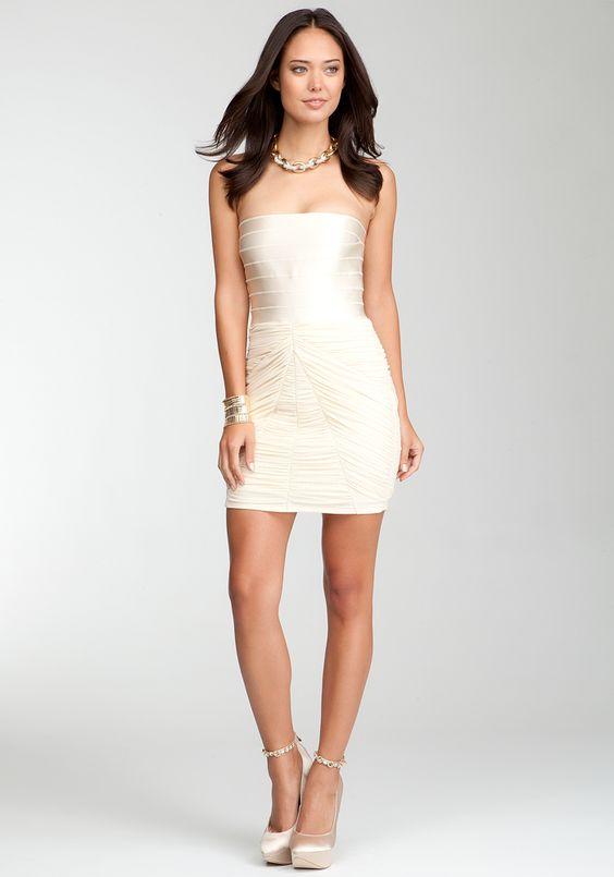 Bebe Strapless Banded Top Dress - Tapioca - Xs