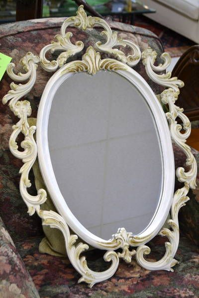"Elegantly Lovely French Provincial Oval Powder Room Mirror by ""Durwood"" - 31"" x 27"""
