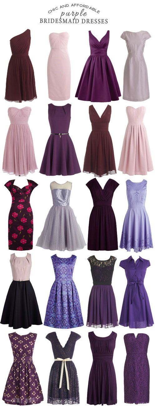 A Selection of Chic and Affordable Purple Bridesmaid Dresses bridesmaid bridesmaiddresses purple wedding