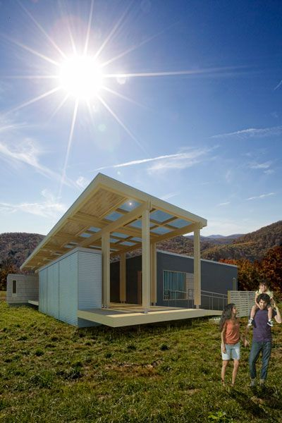 Illustration of the Solar Homestead in a mountain setting. A family of three is in the foreground.>