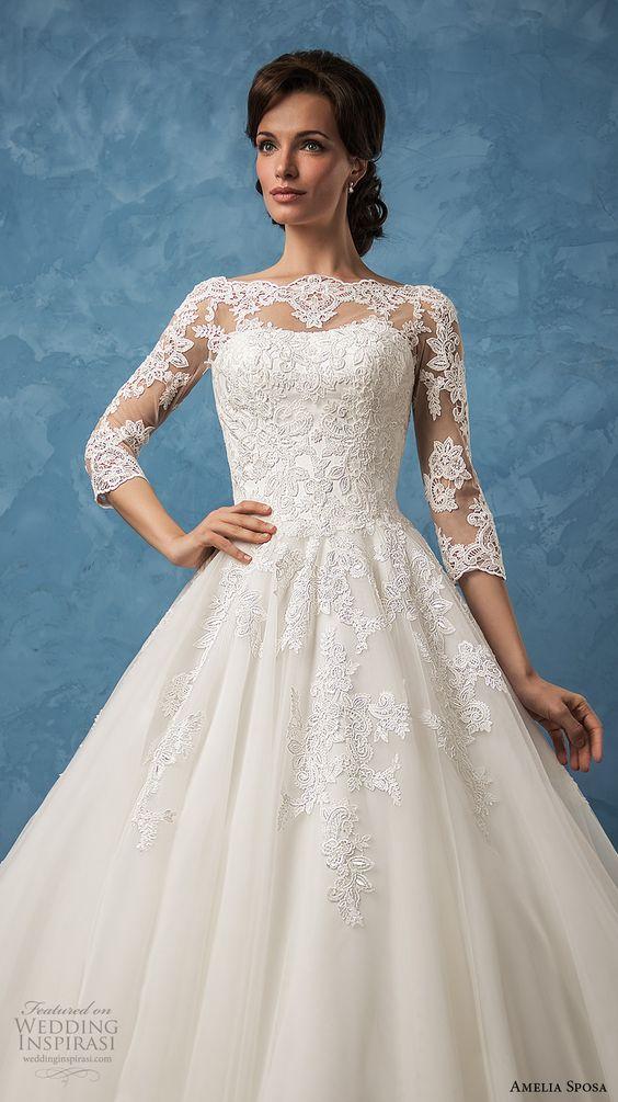 amelia sposa 2017 bridal three quarter sleeves illusion bateau semi sweetheart heavily embellished bodice romantic princess ball gown a  line wedding dress (enrica) zv