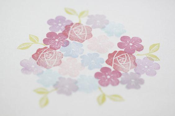 Pflanzen - Blumen Set handgeschnitzter Stempel - ein Designerstück von Aure-und-En bei DaWanda