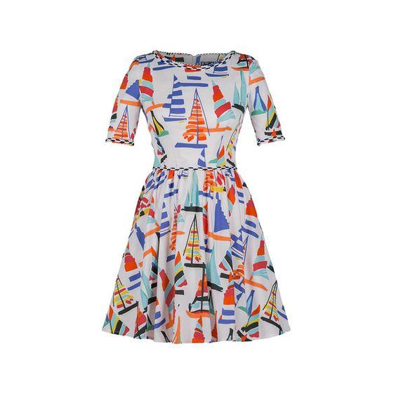 Lena Hoschek Regatta Mini Dress ($525) ❤ liked on Polyvore featuring dresses, short cotton dress, flutter-sleeve dress, cotton dresses, short dresses and frilly dresses