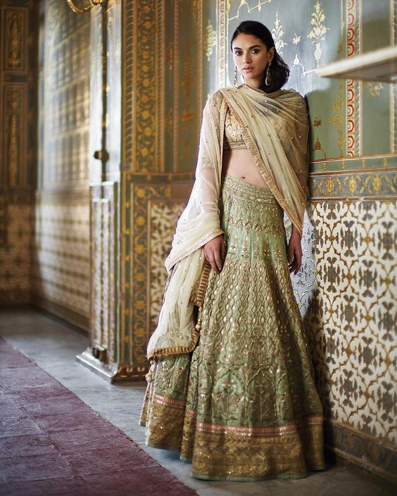 Indian Lehenga Choli Designs For Wedding Green Outfit Anita Dongre