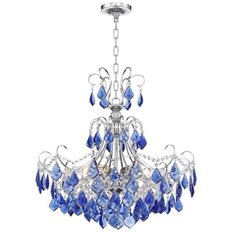 Alpine 26 Wide Chrome And Blue Crystal Chandelier 39p94 Lamps Plus In 2020 Crystal Chandelier Chandelier Blue Chandelier