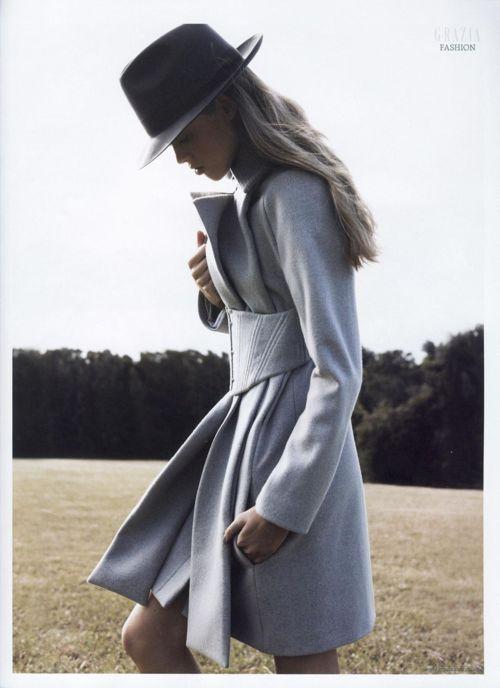 : Grey Coats, Fashion Style, Coats Jackets, Corset Coat, Winter Coats, Fall Winter