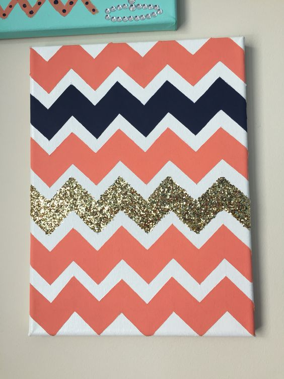 Coral, navy and gold sparkles chevron canvas!