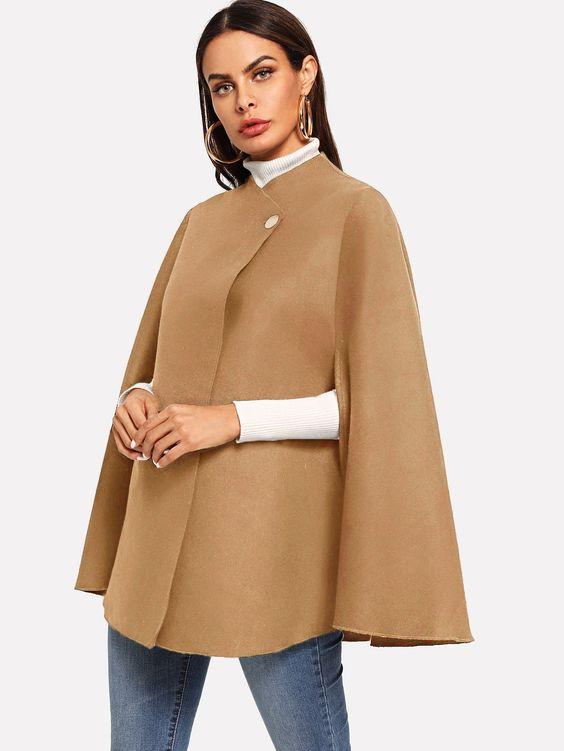 Double Button Mock Neck Poncho Coat -SheIn(Sheinside)